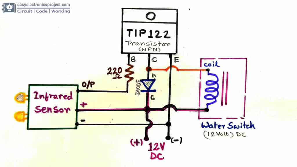 Infrared water tap circuit