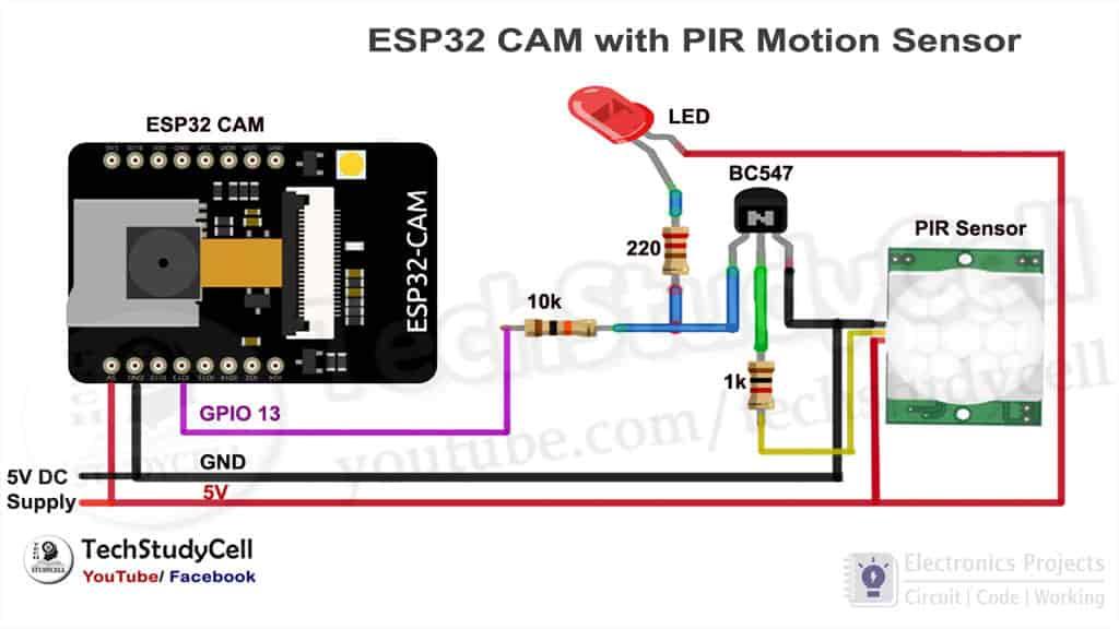 Circuit of ESP32CAM PIR motion sensor camera