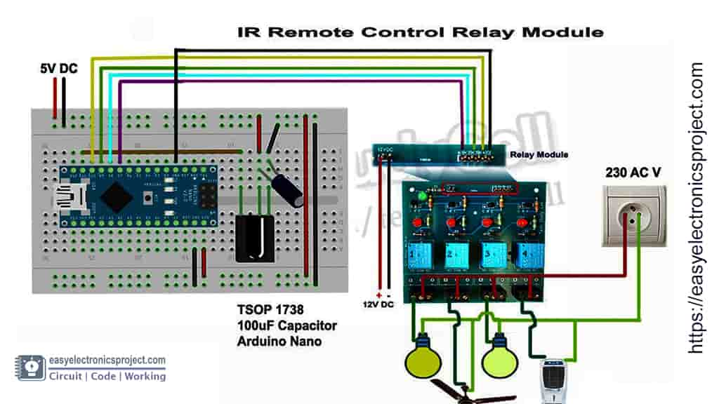 circuit IR and arduino controlled relay