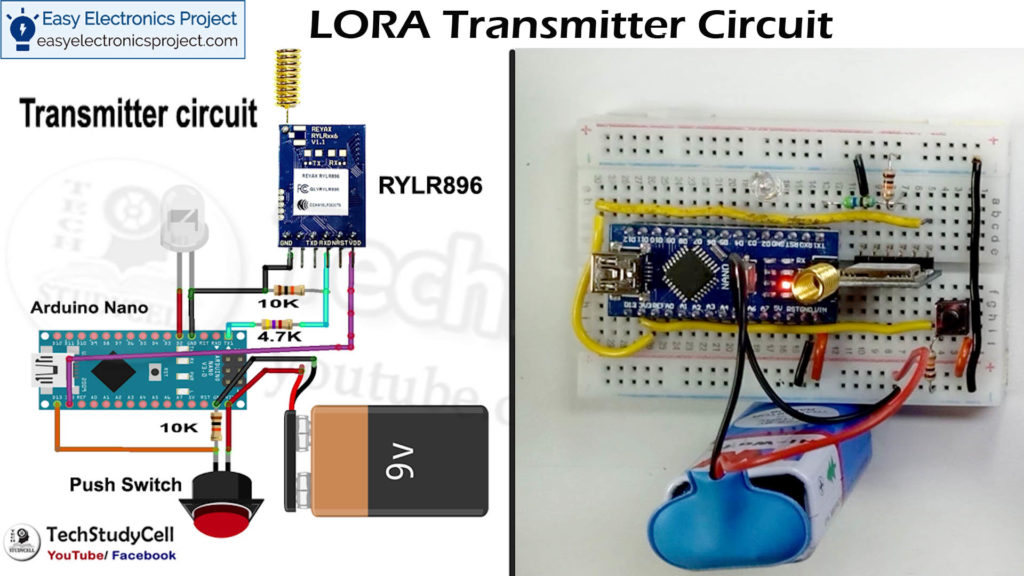 transmitter LoRA and Arduino Control Relay circuit