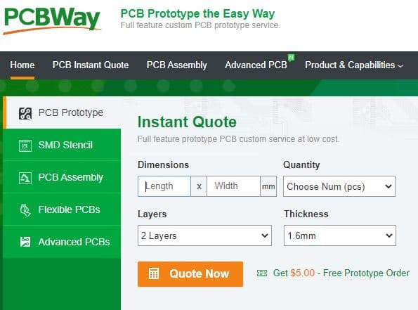 Steps to order from PCBWay