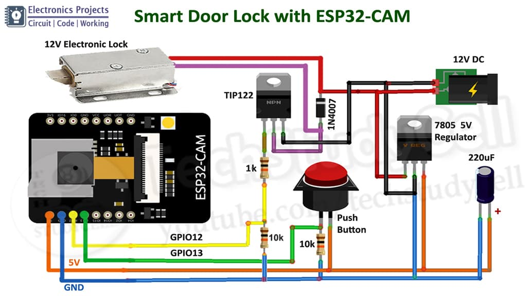 ESP32-CAM WIFI Door Lock Circuit