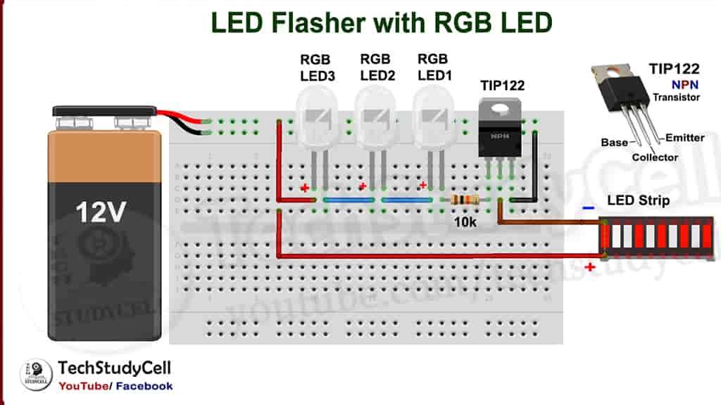 LED flasher Circuit on breadboard