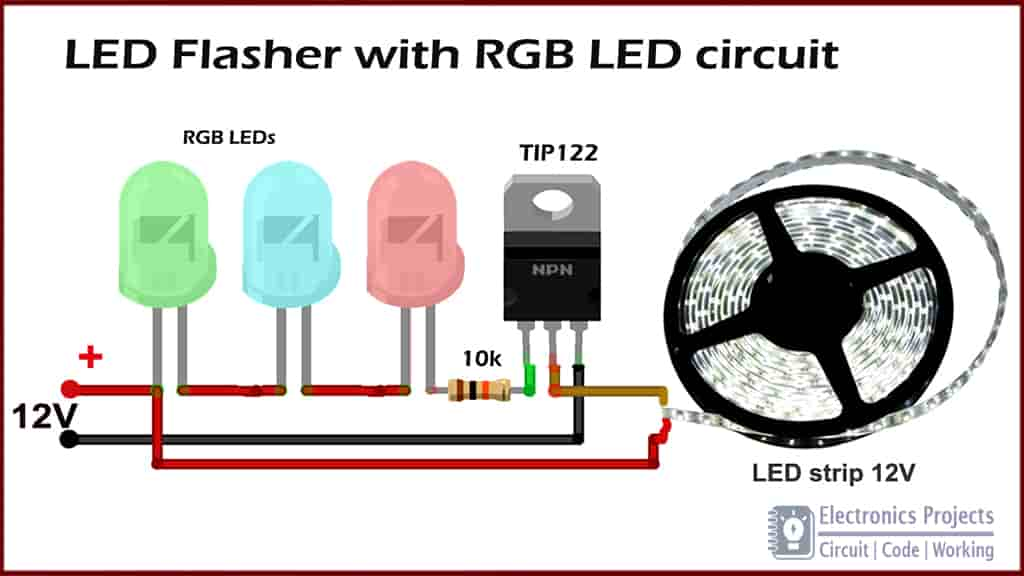 LED flasher Circuit with RGB LED