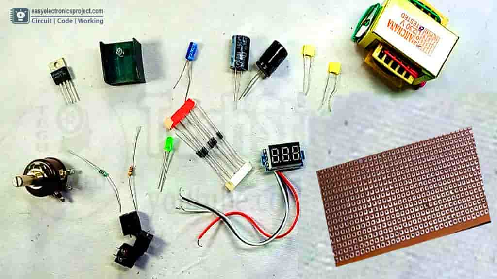 LM317 variable power supply components