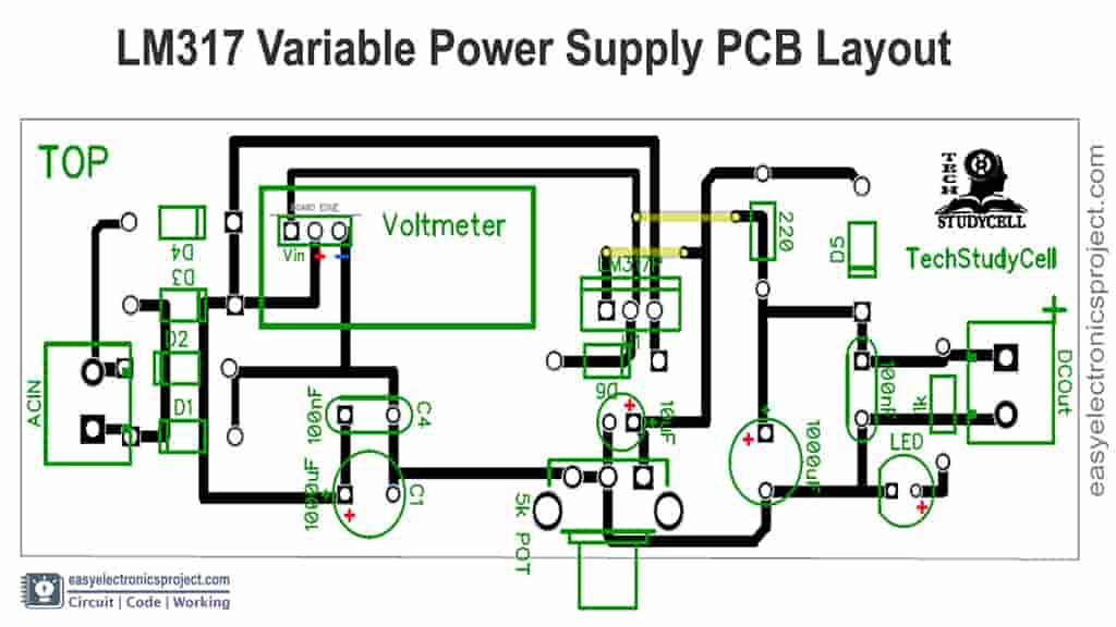 LM317 power supply PCB layout