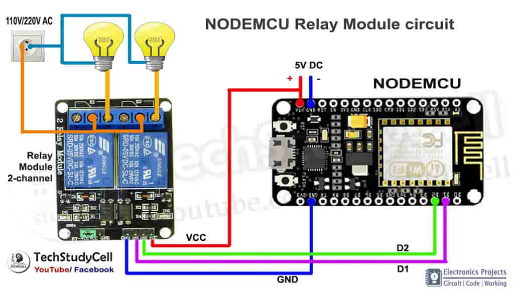 NodeMCU Relay module circuit 2