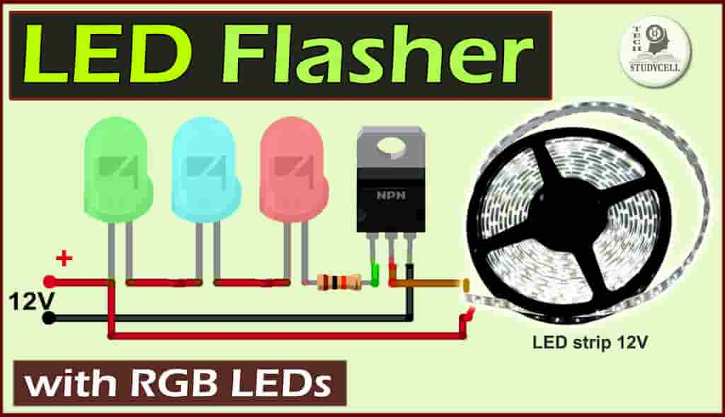 LED Flasher Circuit using RGB LED