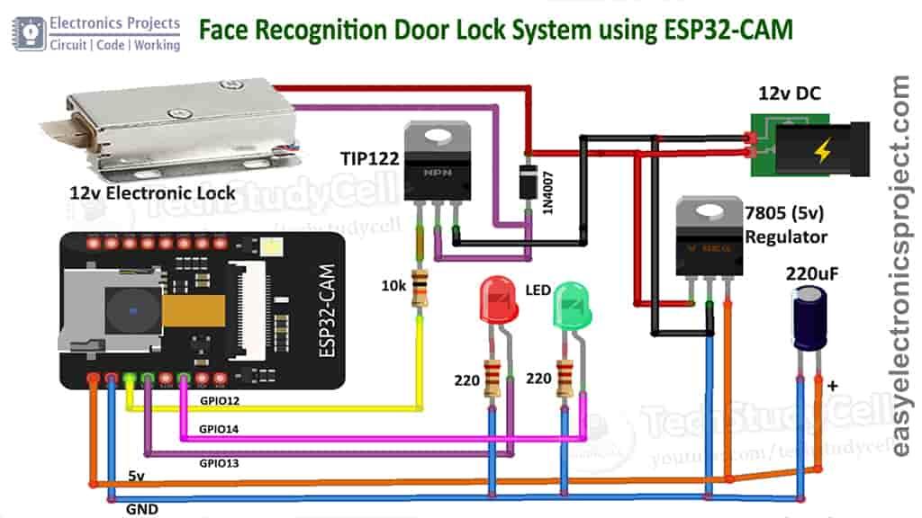 Circuit ESP32CAM Face Recognition Door Lock