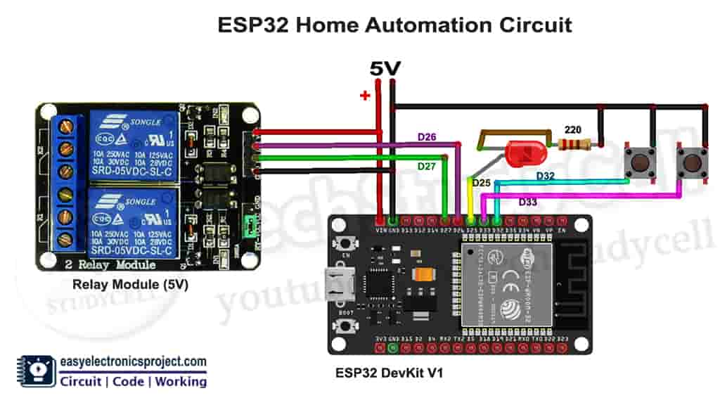 circuit for the ESP32 Home Automation