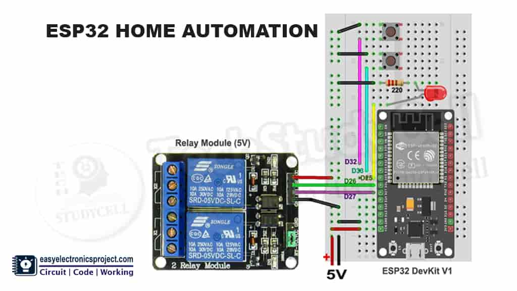 Breadboard schematic for the ESP32 project