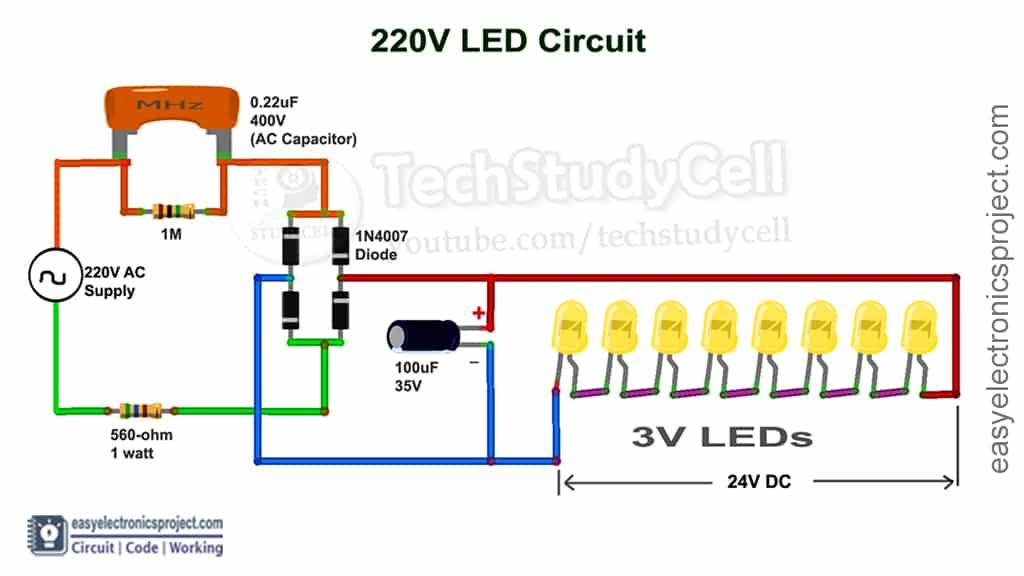 LED 220V AC circuit diagram