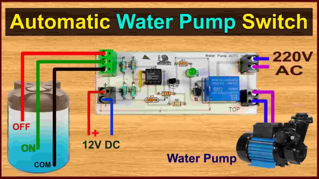 Automatic Water Pump Switch ON-OFF Circuit with 555