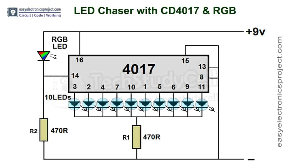 4017 LED Chaser schematic