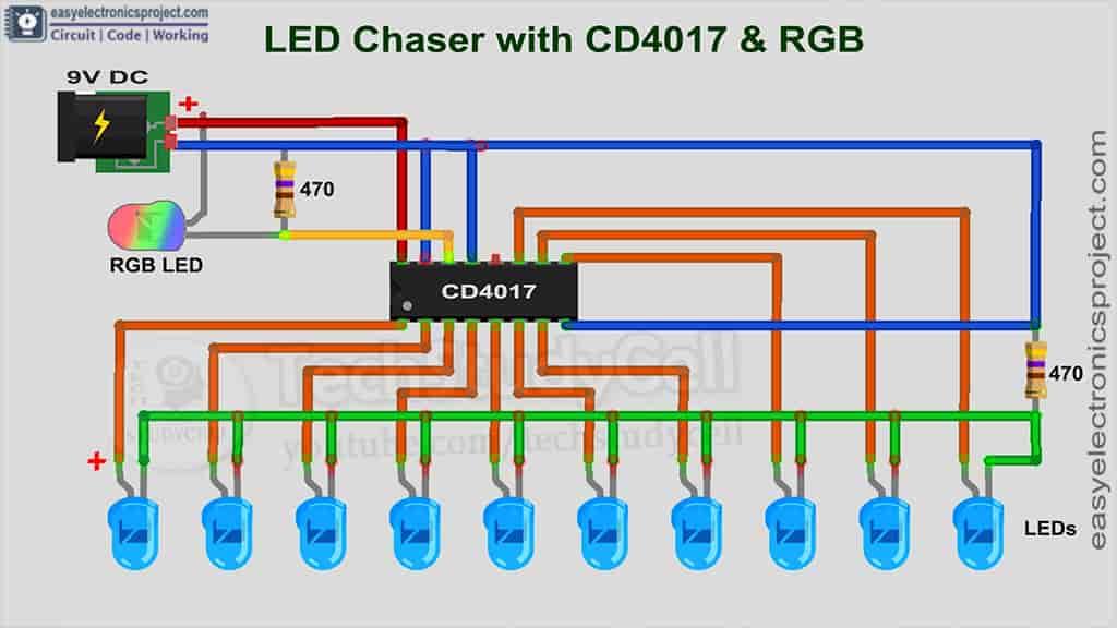 4017 LED Chaser circuit diagram