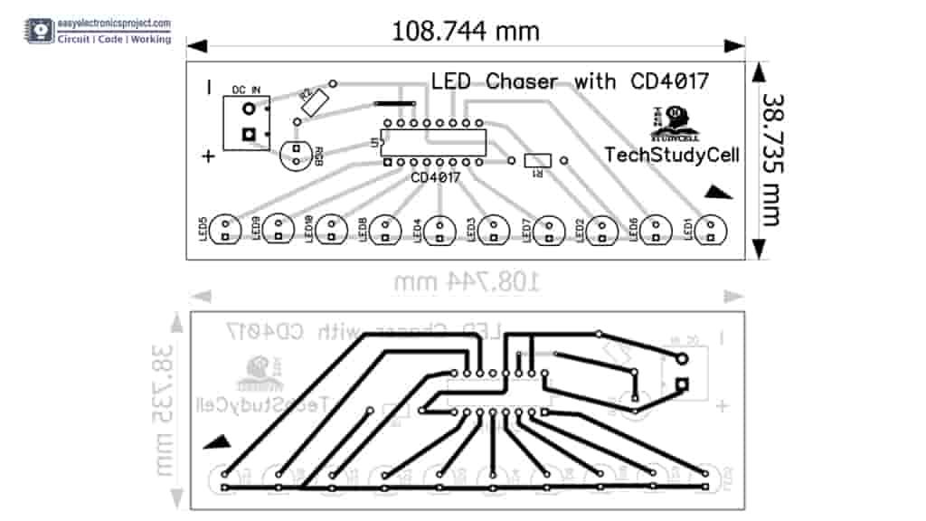 4017 LED Chaser PCB Layout