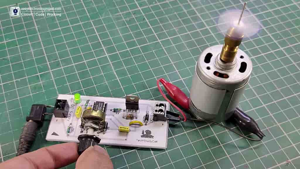 Speed control of DC motor using PWM with 555 IC