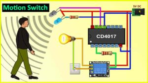 Motion Sensor Light Switch using CD4017 & IR sensor