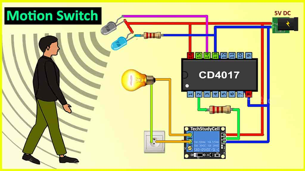 Motion Sensor Light Switch using CD4017 & IR sensor