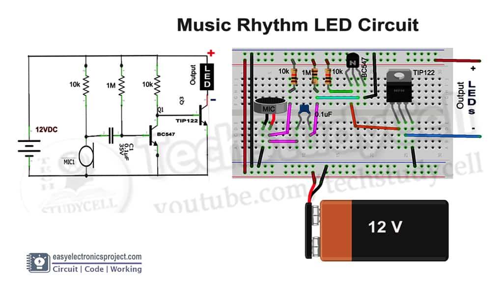 Music Rhythm LED Flashlight circuit