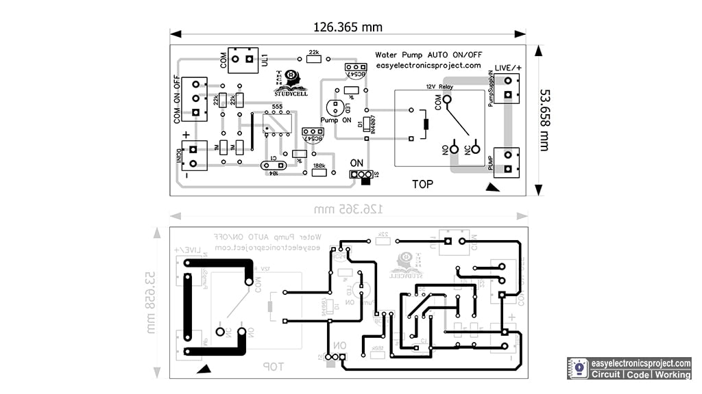 PCB Layout for Automatic Water Level Controller