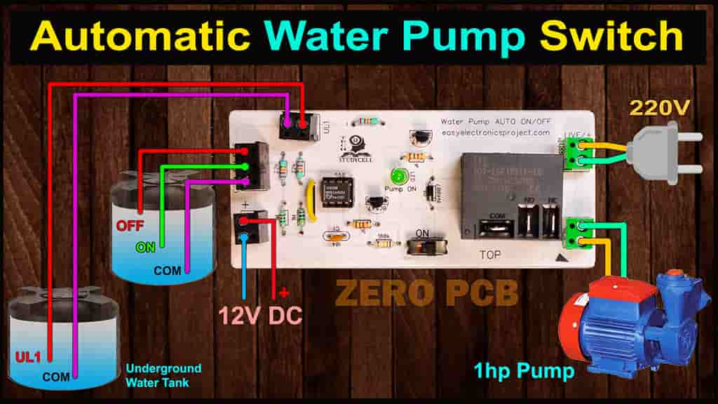 Automatic Water Level Controller for Submersible Pump circuit